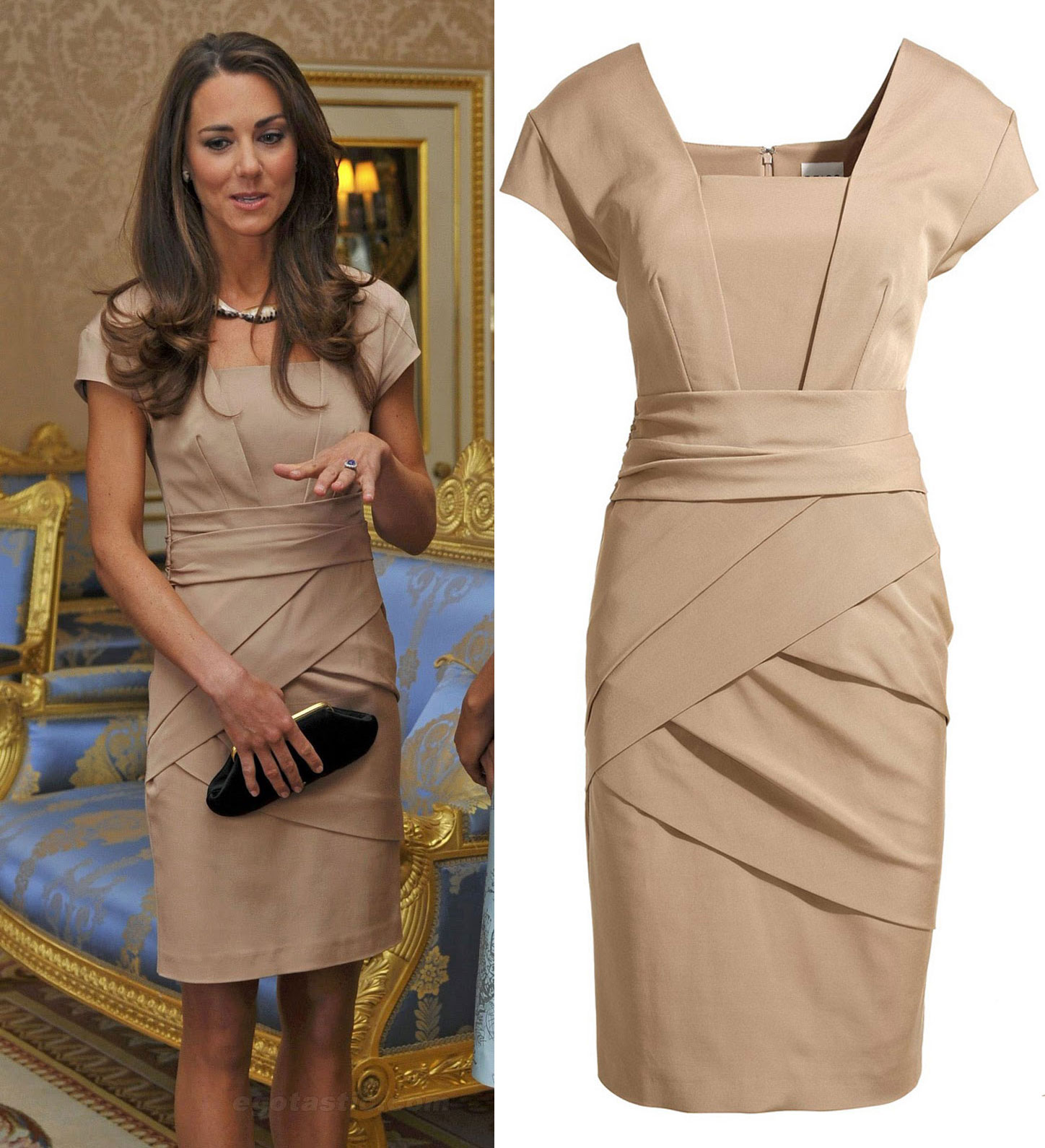Elegant Princess Kate Royal Grace Tan Bandage Dress Casual ...